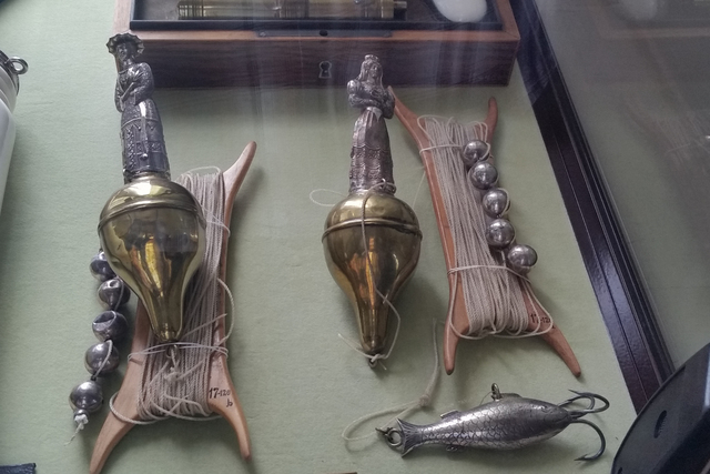 Antique fishing bobbers and bait used by King Frederick 7 of Denmark. The bait resembles those available on the market today. These items are on display at the Rosenborg Castle in Copenhagen. (Dou ...