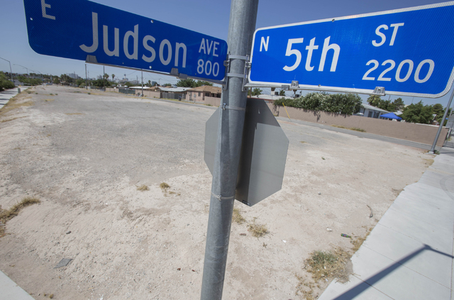 An empty lot is seen at the corner of Judson Avenue and North 5th Street in North Las Vegas on Thursday, June 23, 2016. (Richard Brian/Las Vegas Review-Journal)