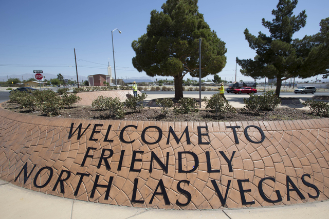 A sign for the City of North Las Vegas is seen on East Lake Mead Blvd. on Thursday, June 23, 2016. (Richard Brian/Las Vegas Review-Journal)