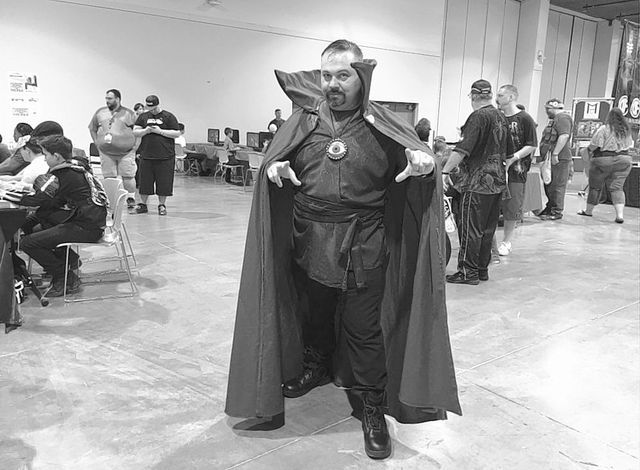 Loney Childress, 42, channels his best Dr. Strange on Saturday, June 18, 2016 at the Las Vegas Convention Center ahead of Marvel's upcoming live action movie. (Ashley Casper/Las Vegas Review-Journal)