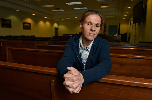 Drug court coordinator Melissa Mevis poses in one of the courtrooms at Nye County Fifth Judicial District Court in Pahrump on Wednesday, May 18, 2016. Mevis, a 2006 drug court graduate, has been w ...