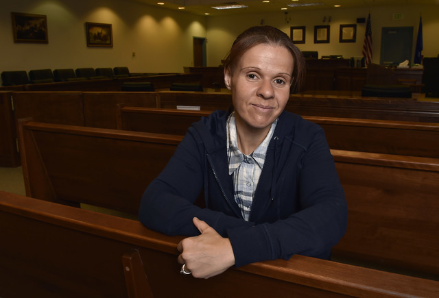 Drug court coordinator Melissa Mevis poses in one of the courtrooms at the Fifth Judicial District Court Wednesday, May 18, 2016 in Pahrump. Mevis, a 2006 drug court graduate, has been working at  ...