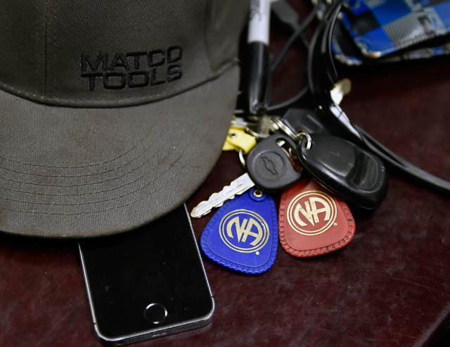 A participant's belongings, including Narcotics Anonymous keychains, are seen in drug court at the Fifth Judicial District Court Wednesday, May 18, 2016 in Pahrump. (David Becker/Las Vegas Review- ...