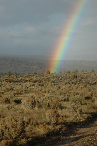 A mid-October rainbow appears to touch ground in a sagebrush meadow during a deer hunt in central Nevada. You won't see this in Las Vegas. (Doug Nielsen/Special to Las Vegas Review-Journal)