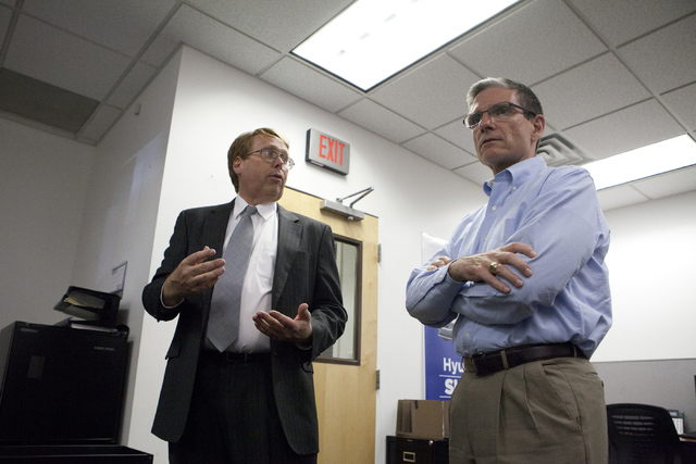 U.S. Rep. Joe Heck, R-Nev., right, is given a tour by Justin Engel of Henderson Hyundai on Thursday, June 2, 2016. Heck is campaigning for U.S. Senate and was endorsed by the National Federation o ...