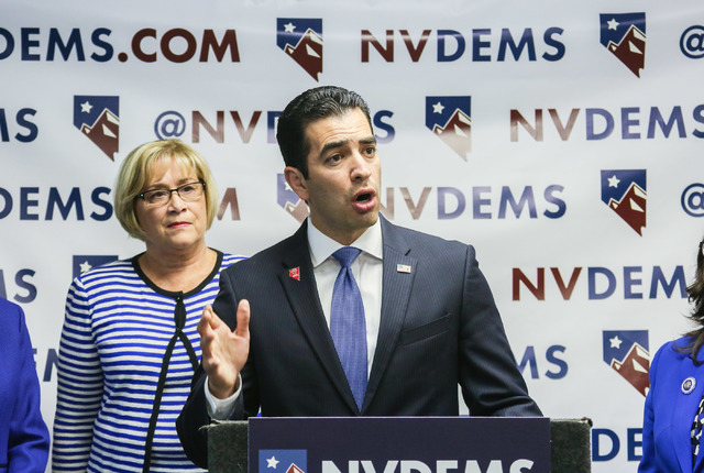 State Senator and Congressional District 4 cadidate Ruben Kihuen speaks at the Nevada State Democratic Party's press conference regarding the democrative general election June 15, 2016. (Elizabeth ...