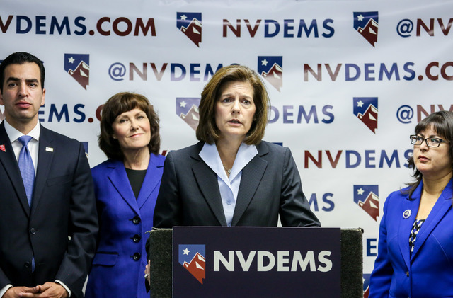 U.S. Senate candidate Catherine Cortez Masto speaks at the Nevada State Democratic Party's press conference regarding the democrative general election June 15, 2016. (Elizabeth Brumley//Las Vegas  ...