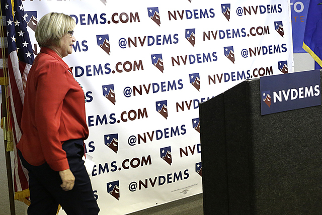NVDEMS Party Chair Roberta Lange takes the podium Monday, June 6, 2016, during a press conference to respond to Donald Trump's attacks accusing U.S. District Judge Gonzalo Curiel of a conflict of  ...