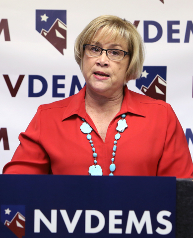 NVDEMS Chair Roberta Lange speaks on Monday, June 6, 2016, during a press conference to respond to Donald Trump's attacks accusing U.S. District Judge Gonzalo Curiel of a conflict of interest beca ...