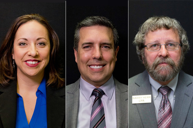 Candidates for State Board of Education District 3, Felicia Ortiz (incumbent), Dave Hales, and Berry Herr. Photographed at the Las Vegas Review-Journal offices in 2016. (Daniel Clark and Jason Ogu ...