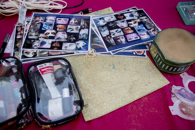 Pages of makeup inspiration lay on a table at the Beauty Bar on the third night of Electric Daisy Carnival at Las Vegas Motor Speedway on Sunday, June 19, 2016. (Bridget Bennett/Las Vegas Review-J ...