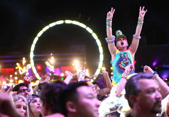 Attendees dance as Baggi Begovic performs at Stage 7 at Electric Daisy Carnival at the Las Vegas Motor Speedway in Las Vegas on Sunday, June 22, 2014. (Chase Stevens/Las Vegas Review-Journal)