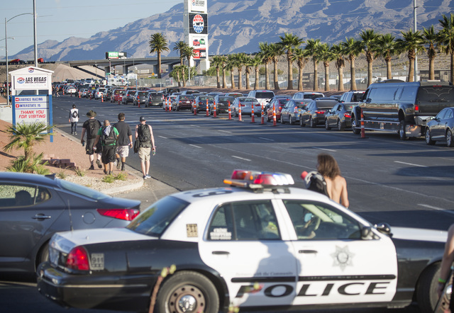 Electric Daisy Carnival revealers leave the Las Vegas Speedway on Monday, June 22, 2015. The three-day EDC festival ended on Monday morning. Follow Jeff Scheid on Twitter @jlscheid (Jeff Scheid/La ...