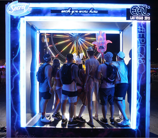 Festival goers pose for a photo during the first night of the Electric Daisy Carnival Friday, June 19, 2015 at the Las Vegas Motor Speedway.  (Sam Morris/Las Vegas Review-Journal) Follow Sam Morri ...