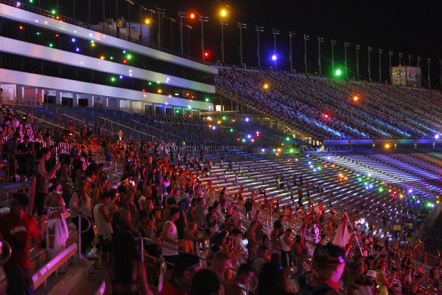 Festival goers stream in through the grandstands during the first night of the Electric Daisy Carnival Friday, June 19, 2015, at the Las Vegas Motor Speedway.  (Sam Morris/Las Vegas Review-Journal ...