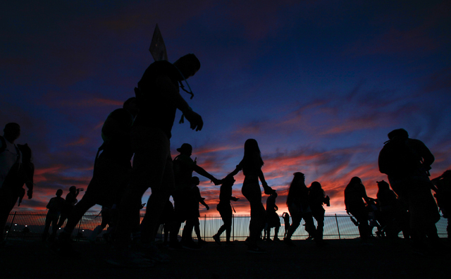 Attendees arrive for the first night of Electric Daisy Carnival at the Las Vegas Motor Speedway in Las Vegas on Friday, June 17, 2016. (Chase Stevens/Las Vegas Review-Journal) Follow @csstevensphoto
