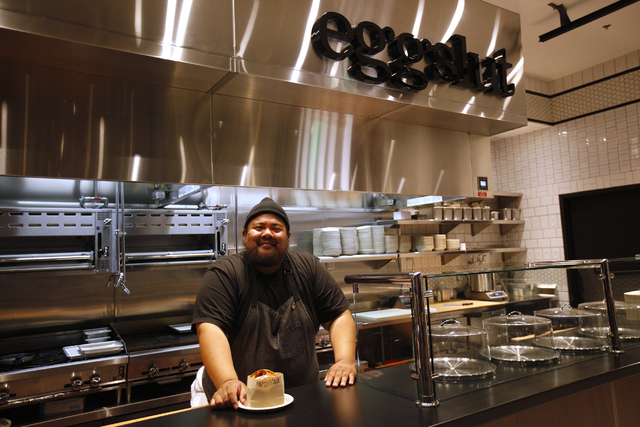 Alvin Cailan, chef and owner of Eggslut, poses with a bacon, egg, and cheese sandwich at the new Cosmopolitan location in Las Vegas on Wednesday, June 8, 2016. Rachel Aston/Las Vegas Review-Journa ...