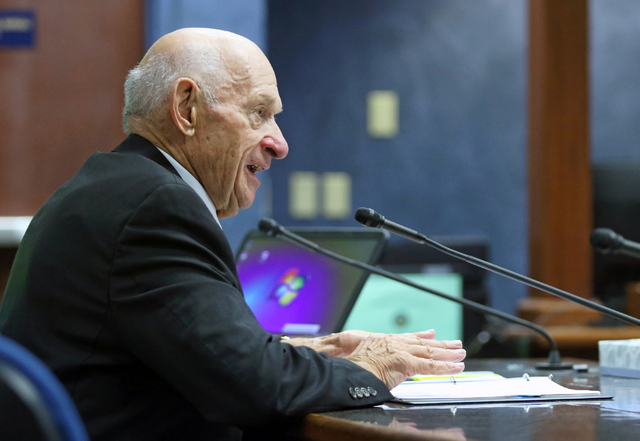 Michael Strembitsky, a retired superintendent of Edmonton Public Schools in Canada, speaks to a legislative advisory committee at Grant Sawyer Building Thursday, June 16, 2016, in Las Vegas. The c ...