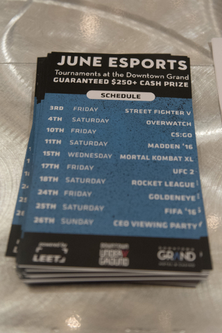 Flyers listing the June e-sports tournaments sit on a table at the Downtown Underground e-sports lounge at Downtown Grand hotel-casino in Las Vegas on Friday, June 3, 2016. Jason Ogulnik/Las Vegas ...