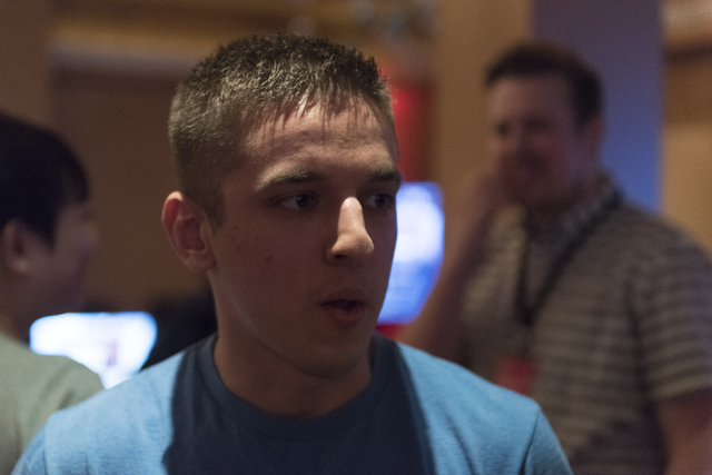 Steven Links speaks with a reporter prior to competing in the Street Fighter V tournament at the Downtown Underground e-sports lounge at Downtown Grand hotel-casino in Las Vegas on Friday, June 3, ...