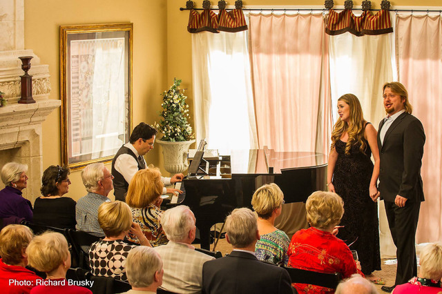 Viktor Antipenko and Suzanne Vinnik perform in front of the audience with Dennis Doubin at the piano during a fundraiser for Opera Las Vegas Feb. 13, 2016, in the home of Chris and Anita Murray, O ...