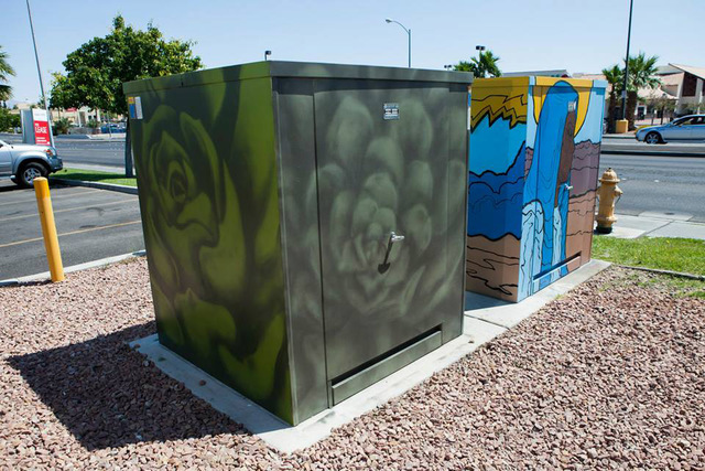 The art on Las Vegas Valley Water District utility boxes that is part of the County's Zap Project is shown in the summer 2015, not long after local artist Lance Smith completed it. An unknown va ...