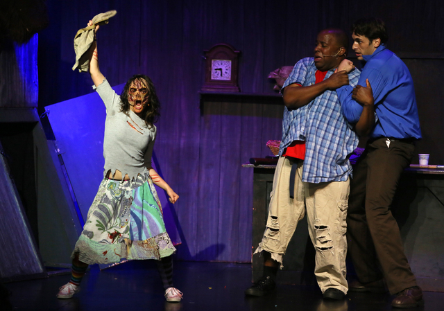 """""""Evil Dead the Musical"""" cast members perform at in the V Theater inside Miracle Mile Shops at Planet Hollywood. The show is a humorous adult show that contains aspects from cult classic horror fil ..."""