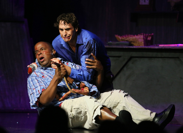 """""""Evil Dead the Musical"""" cast members perform at the V Theater inside Miracle Mile Shops at Planet Hollywood. (Ronda Churchill/Las Vegas Review-Journal"""