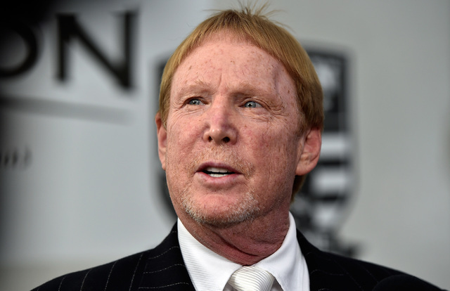 Oakland Raiders owner Mark Davis speaks with the media before the Gridiron Greats Hall of Fame Induction dinner at the Silverton hotel-casino Friday, June 3, 2016, in Las Vegas. (David Becker/Las  ...