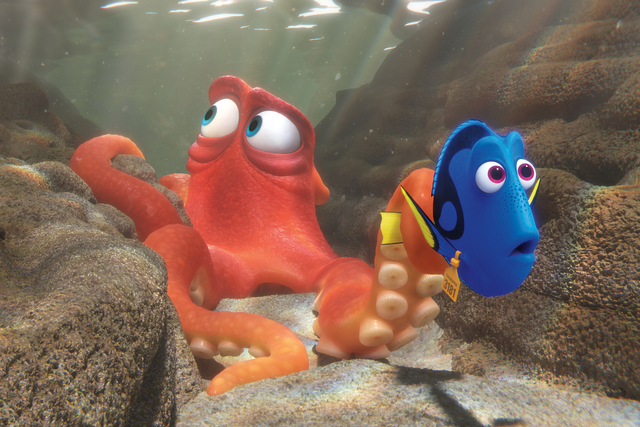 "When Dory finds herself in the Marine Life Institute, a rehabilitation center and aquarium, Hank — a cantankerous octopus — is the first to greet her in ""Finding Dory."" (Courtesy Disney-Pixar)"