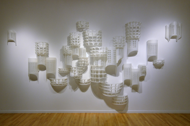 """Untitled (Chicago),"" a 2012 wall sculpture by former UNLV artist-in-residence Deborah Aschheim, is part of the ""Five"" exhibit at the Barrick Museum on campus. Bill Hughes/Las Vegas Review-Journal"
