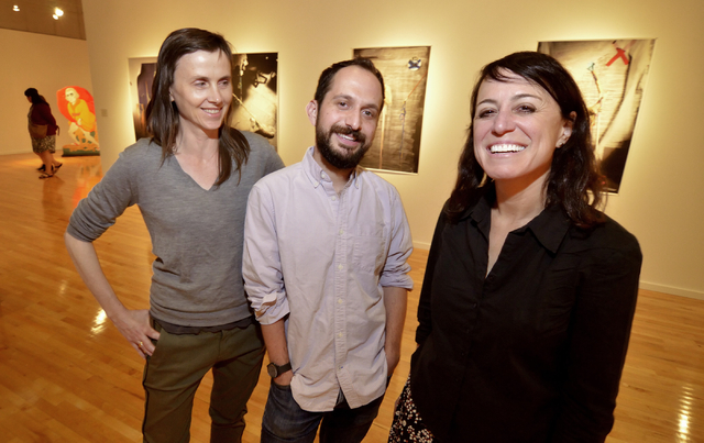 "Three of the ""Five"" -- former UNLV artists-in-residence Erin Cosgrove, left, David Gilbert and Deborah Aschheim -- attend the recent opening of the exhibit at UNLV's Barrick Museum. Bill Hughes/La ..."