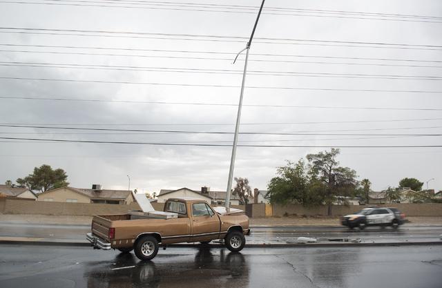 Las Vegas police investigate a crash on West Flamingo Road near Rainbow Boulevard in Las Vegas on Thursday, June 30, 2016. (Martin S. Fuentes/Las Vegas Review-Journal)