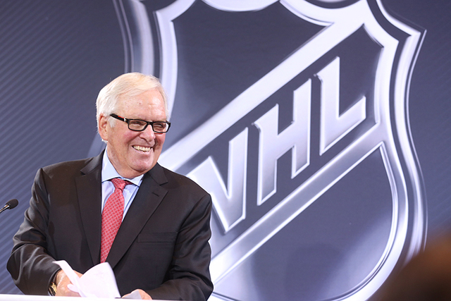 Las Vegas businessman Bill Foley speaks at the NHL press conference on June 22, 2016. (Jeff Scheid/Las Vegas Review-Journal)