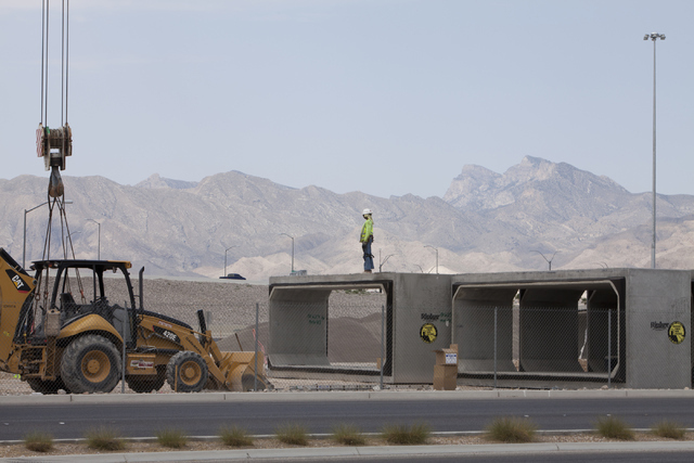 Construction continues at the U.S. Highway 95-215 Beltway interchange on Tuesday, June 21, 2016, in Las Vegas. This project and others in Clark County could be delayed if the gas tax isn't extende ...