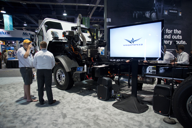 A Mack Trucks LR Model with an energy efficient Wrightspeed Powertrain Route 1000 electric drive system sits on display at the Waste Expo inside the Las Vegas Convention Center on Tuesday, June 7, ...