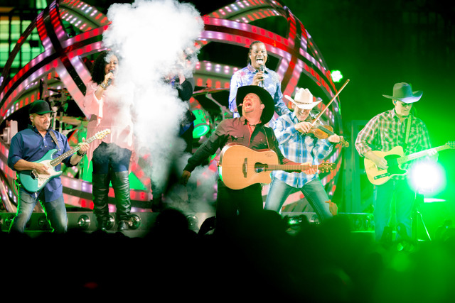 Country music star Garth Brooks performs at T-Mobile Arena Friday in Las Vegas as part of a world Tour. Elizabeth Brumley/Las Vegas Review-Journal follow @elipagephoto