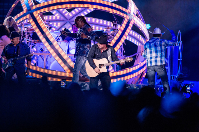 Country music star Garth Brooks performs at T-Mobile Arena Friday in Las Vegas as part of a world Tour. (Elizabeth Brumley/Las Vegas Review-Journal) follow @elipagephoto