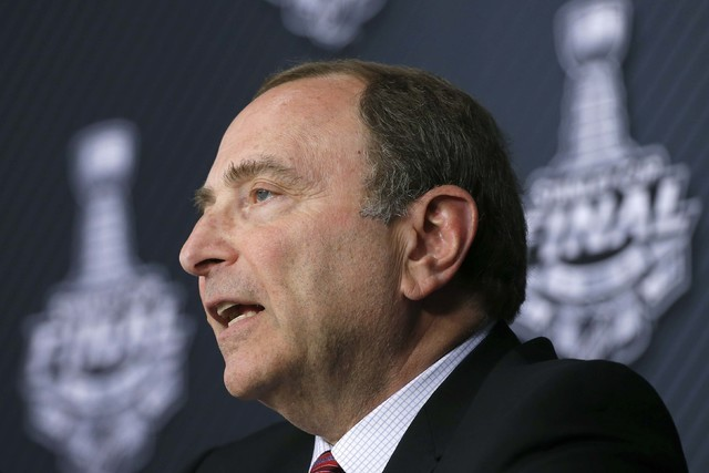 NHL Commissioner Gary Bettman speaks to the media before Game 1 of the Stanley Cup final series between the San Jose Sharks and the Pittsburgh Penguins, Monday, May 30, 2016, in Pittsburgh. (Gene  ...