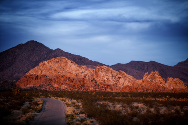 The Gold Butte area is seen at sundown on Thursday, May 22, 2014. The Gold Butte Region, administered by the BLM and the U.S. National Park Service, is about 2 1/2 hours east of Las Vegas near the ...