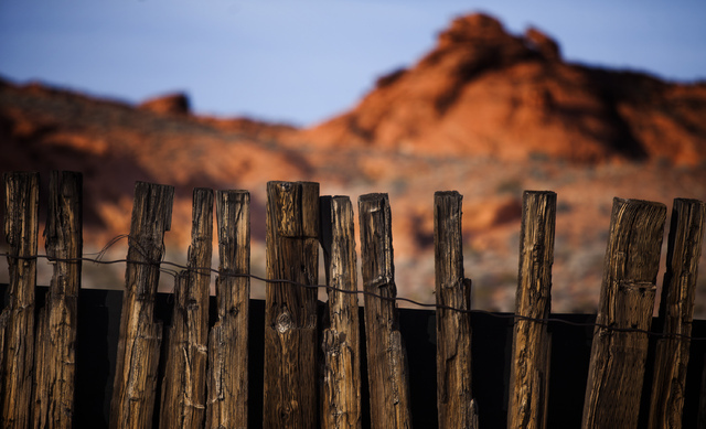 A cattle corral near Little Finland, also known as Hobgoblin's Playground and Devil's Fire, is shown Thursday, May 22, 2014  in the Gold Butte area,  about 2 1/2 hours east of Las Vegas. (Jeff Sch ...