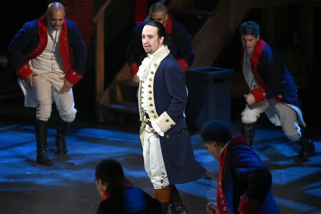 """Lin-Manuel Miranda and the cast of """"Hamilton"""" perform at the Tony Awards in New York, June 12, 2016. Miranda said Thursday, June 16, 2016, that he is leaving his show on July 9. (Evan Agostini/Inv ..."""