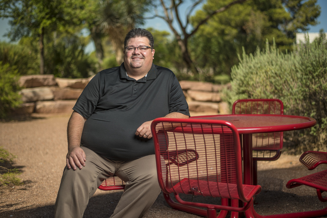 Brian Labus poses for a photo outside of the Bigelow Heath Sciences Building on the campus of UNLV in Las Vegas on Wednesday, June 29, 2016. (Joshua Dahl/Las Vegas Review-Journal)