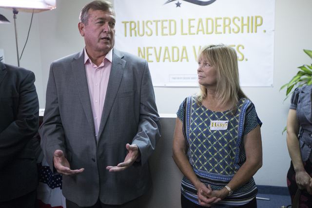 U.S. Rep. Cresent Hardy, R-Nev., left, speaks during a re-election campaign event with his wife Peri Hardy at his campaign headquarters on Saturday, June 25, 2016, in Las Vegas. Erik Verduzco/Las  ...