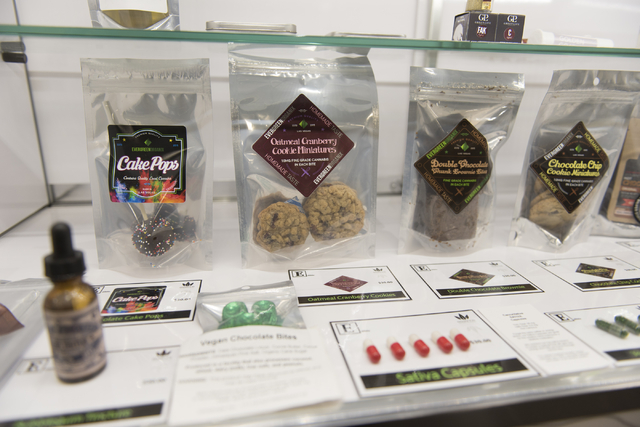 Evergreen Organix edible cannabis products are seen in a display case at the Essence Cannabis Dispensary in Henderson June 15, 2016. Jason Ogulnik/View