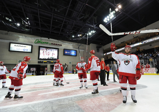 Las Vegas Wranglers players salute the crowd after their 3-2 loss to the Alaska Aces during of game 4 of the first round of the 2014 ECHL Kelly Cup playoff hockey game at the Orleans Arena Las Veg ...