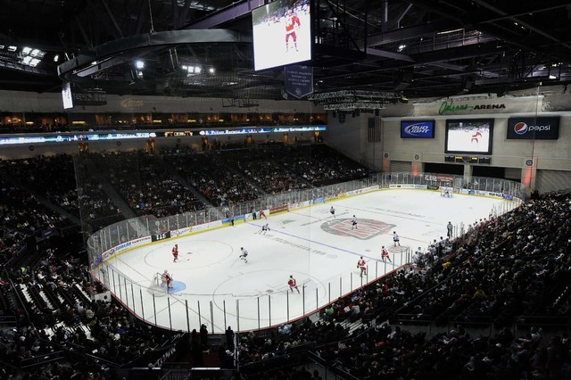 The Orleans Arena is seen during the first period of an ECHL hockey game between the Las Vegas Wranglers and the Ontario Reign at Orleans Arena in Las Vegas Saturday, February 1, 2014. (Josh Holmb ...