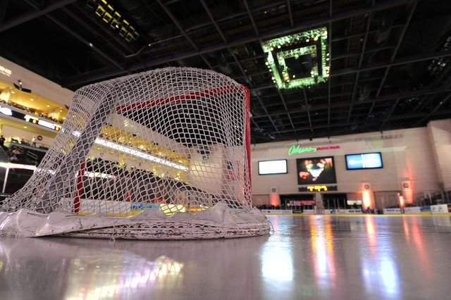 The Orleans Arena is seen before the start of game 4 of the first round of the 2014 ECHL Kelly Cup playoff hockey game between the Las Vegas Wranglers and Alaska Aces Friday, April 25, 2014.  Alas ...