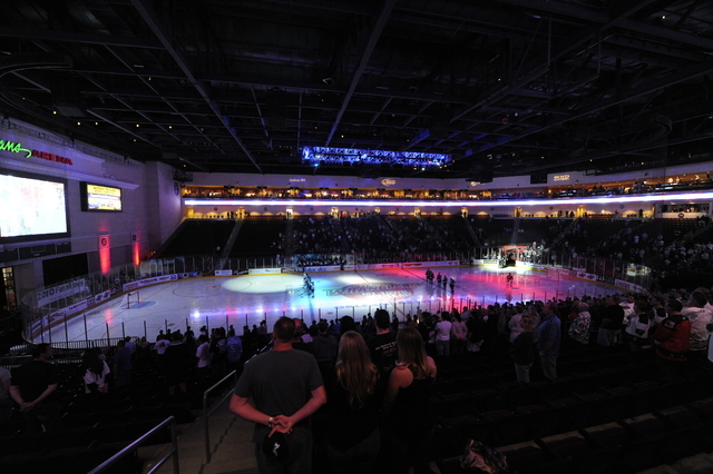 A general view of the Orleans Arena during the national anthem of an ECHL Western Conference Finals playoff hockey game between the Alaska Aces and the Las Vegas Wranglers at Orleans Arena in Las  ...