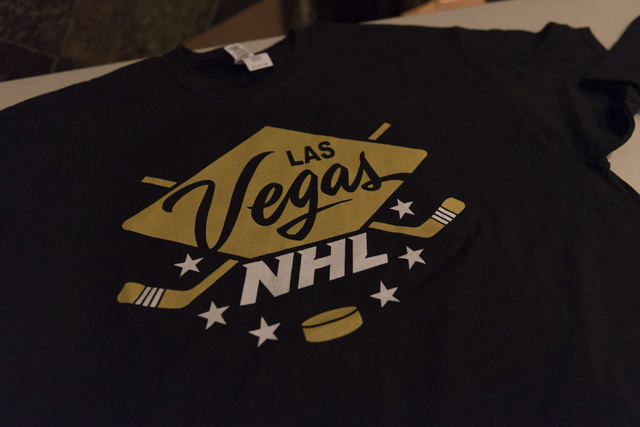 """A """"Las Vegas NHL"""" t-shirt is seen at O'Aces Bar & Grill following a conference in which the NHL's Board of Governors approved an expansion franchise in Las Vegas Wednesday, J ..."""